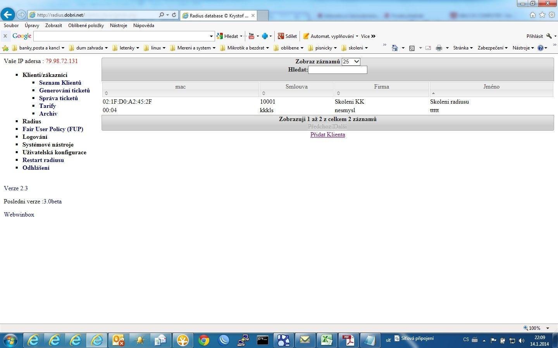 další záložní RADIUS server s webovým rozhraním 3.x Kryštof Klíma