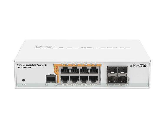 MikroTik CRS112-8P-4S, 128MB, 8xGLAN w PoE-out, 4xSFP, OS L5, desktop case, PSU
